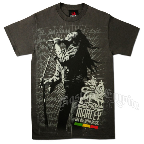 Bob Marley Hit Me With Music Charcoal T-Shirt - Men's