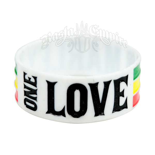 Bob Marley One Love Silicone Wristband - White