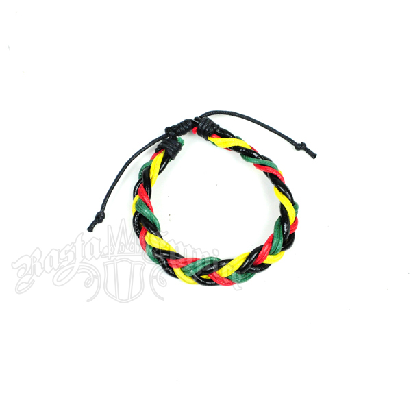 Rasta Color Braided Leather Bracelet