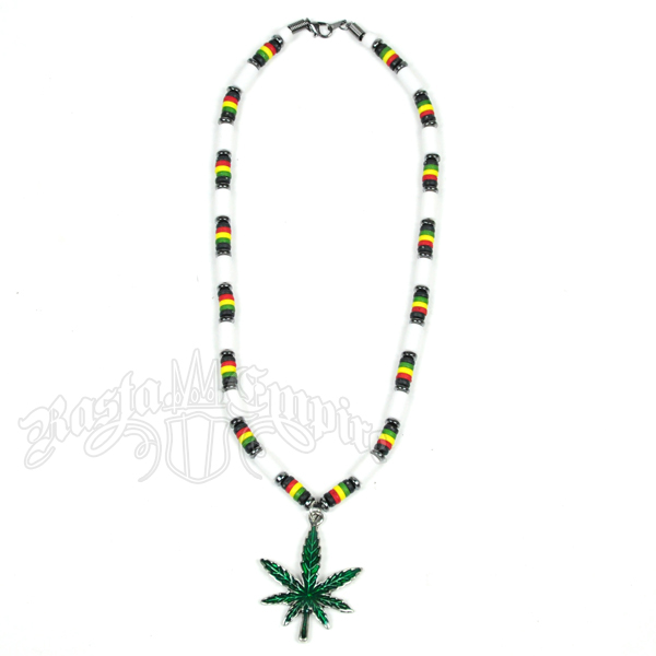 Rasta and White Bead Necklace with Pot Leaf