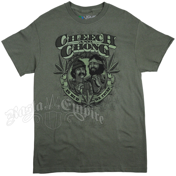 Cheech and Chong In Bud We Trust Olive Green T-Shirt – Men's