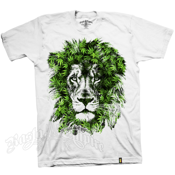 Seven Leaf Lion Marijuana Leaves White T-Shirt – Men's