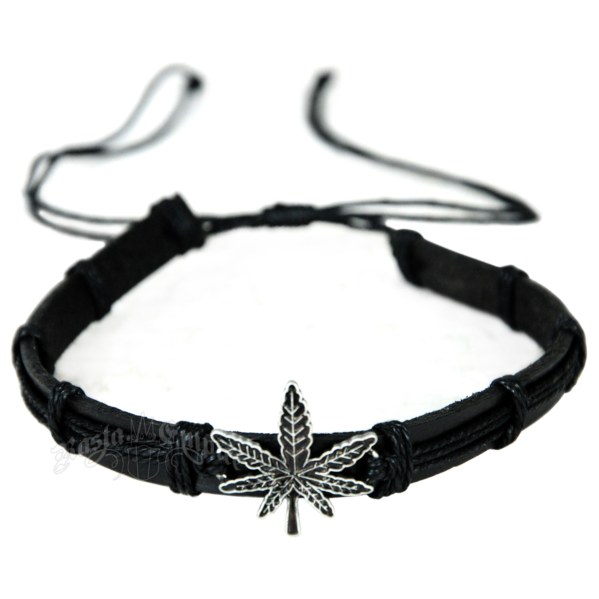 Black Leaf Leather Choker
