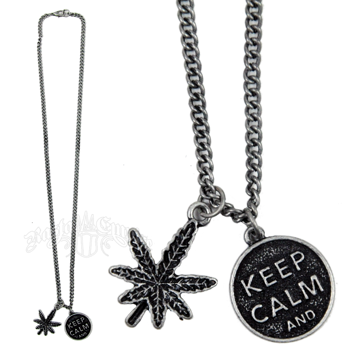 Keep Calm and Pot Leaf Necklace