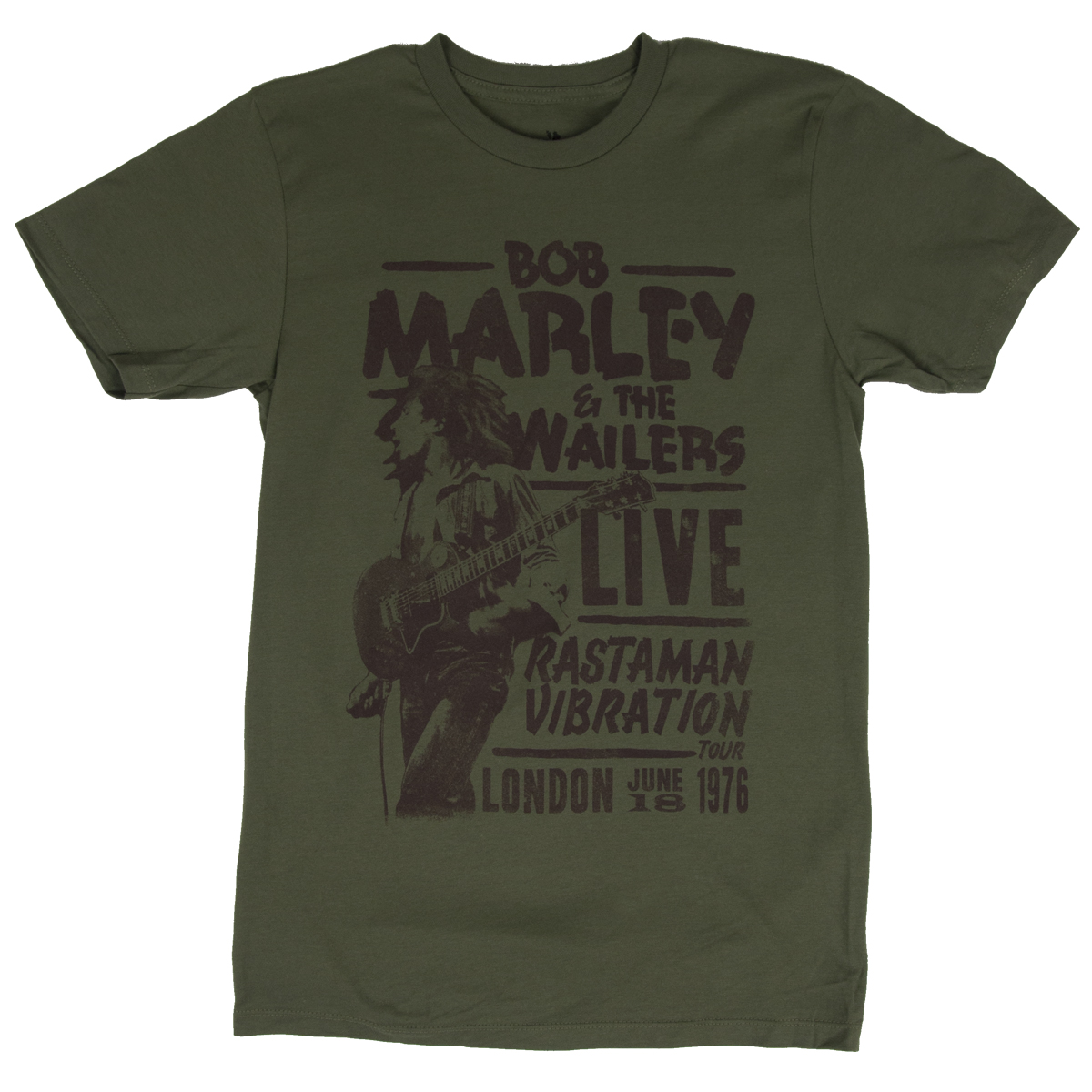 Bob Marley Rastaman Live in London Olive T-Shirt - Men's