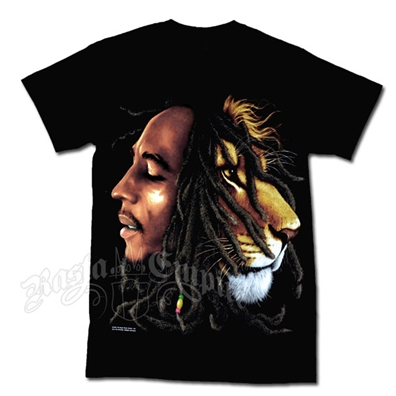 Bob Marley & Lion Profile Black T-Shirt - Men's