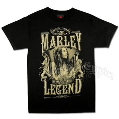 Bob Marley Rebel Music Legend Black T-Shirt - Men's