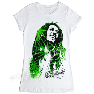 Bob Marley Leaves Dreads White T-Shirt - Women's