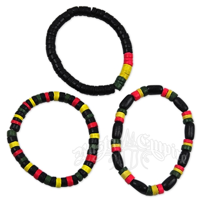 Rasta Wood Bead Bracelet - 3 Piece Set