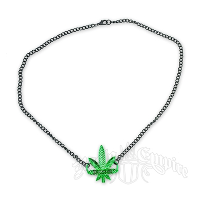 "Black and Green ""Legalize"" Marijuana Leaf Charm Necklace"