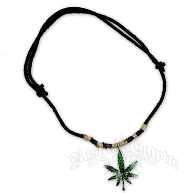 Marijuana Leaf Charm Black Leather Necklace