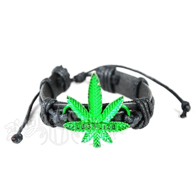 Legalize Marijuana Leaf Leather Bracelet