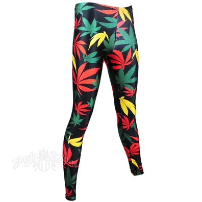 Rasta Weed Leaf Leggings - Women's