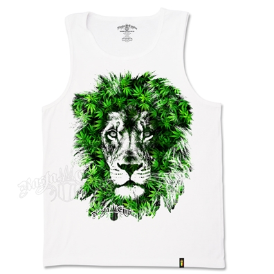 Seven Leaf Lion Marijuana Leaves White Tank Top – Men's
