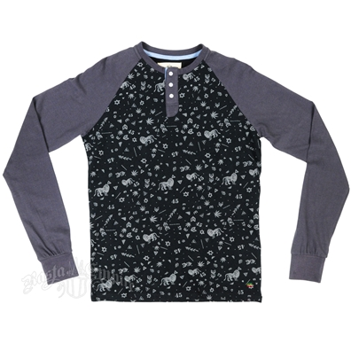 Marley Collage Print Long Sleeve Black & Charcoal Henley Shirt - Men's