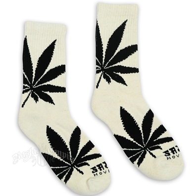 Big Leaf Crew Socks - Natural/Black