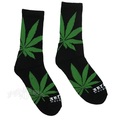 Big Leaf Crew Socks - Black/Green