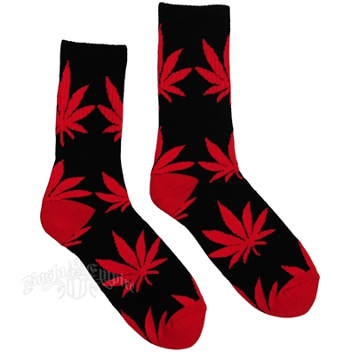 Cannabis Crew Socks - Black/Red