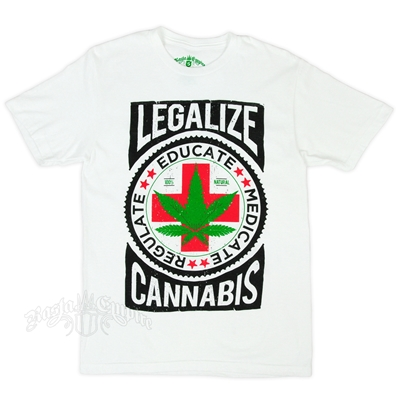 Seven Leaf Legalize Cannabis White Heather T-Shirt - Men's