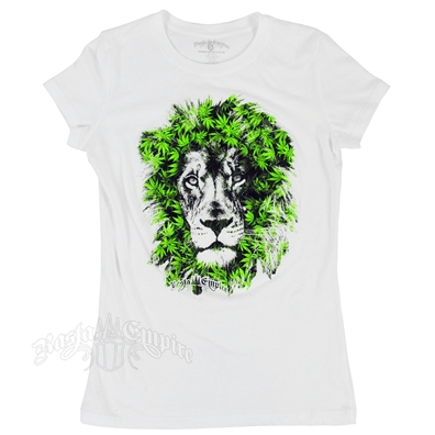 Seven Leaf Lion Marijuana Leaves White T-Shirt - Women's