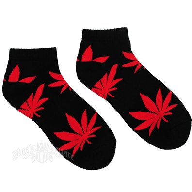 Cannabis Ankle Socks BLK/RED