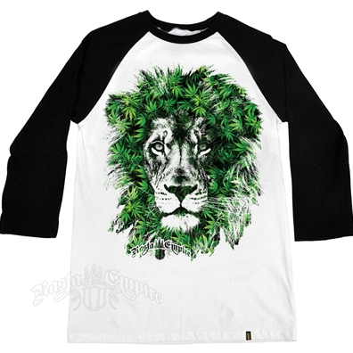 Seven Leaf Lion Marijuana Leaves White & Black Baseball T-Shirt – Men's