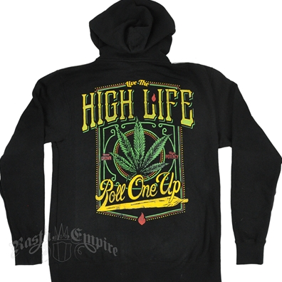 Seven Leaf  High Life Black Zip Hoodie – Men's