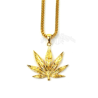 Gold Weed Leaf Necklace