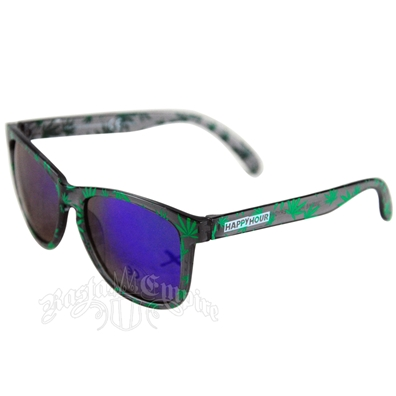 Green Marijuana Leaves High Times Sunglasses - Smoke Frame