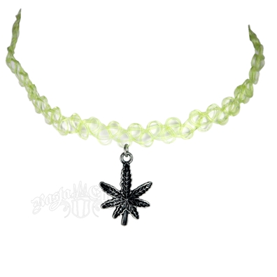 Light Green Pot Leaf Tattoo Choker