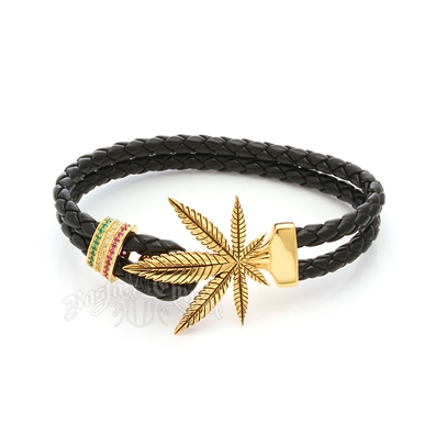 Weed Leaf & Rasta Stones Leather Bracelet