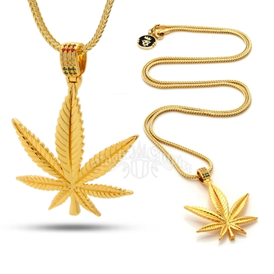Weed Leaf & Rasta Stones Gold Necklace