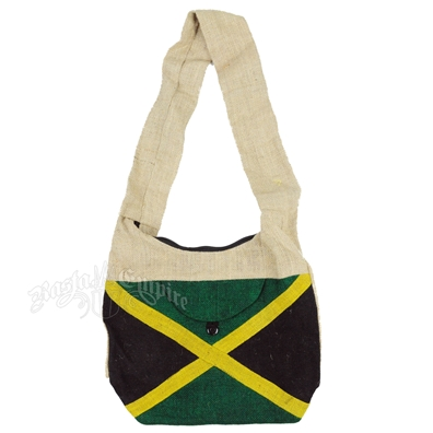 Jamaican Flag Natural Jute Shoulder Bag