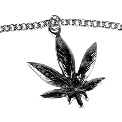 Silver Pot Leaf Necklace