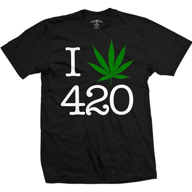 I Love 420 Pot Leaf Black T-Shirt – Men's