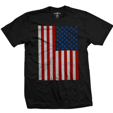 Pot Leaf Stars American Flag Black T-Shirt – Men's