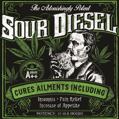 Seven Leaf Sour Diesel Strain Sticker