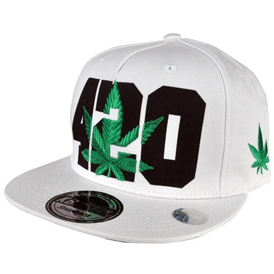 420 Pot Leaf Hat - White