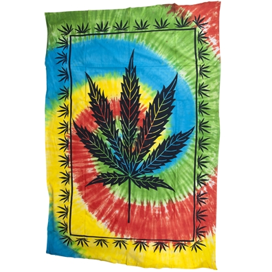 Marijuana Leaf Tie Dye Twin Tapestry