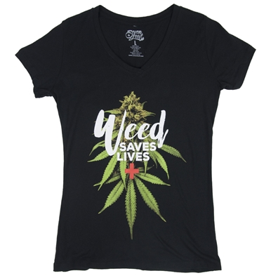 Weed Saves Lives Ladies T-Shirt by SevenLeaf.com