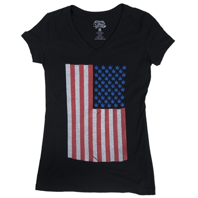 Seven Leaf American Weed Flag T-Shirt - Women's