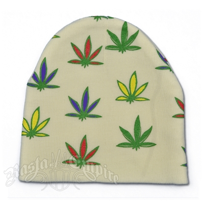 Weed Leaves on White - Beanie Cap