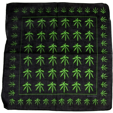 Marijuana Leaves Allover Black Bandana