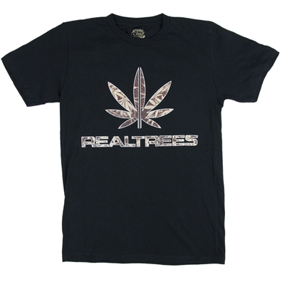 Seven Leaf Real Trees Camo Black T-Shirt - Men's