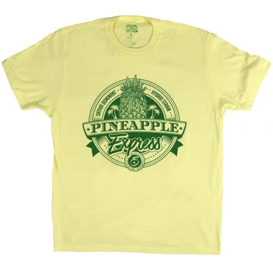 Pineapple Express Cannabis Strain Yellow T-Shirt by SevenLeaf.com