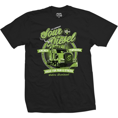 Seven Leaf Sour Diesel Cannabis Strain Black T-Shirt – Men's