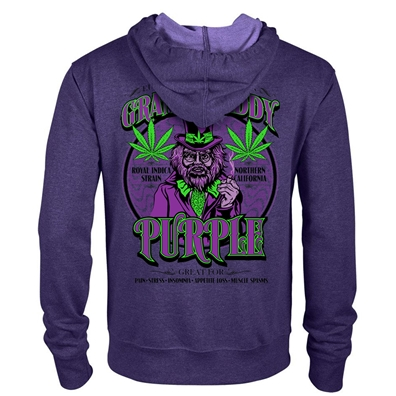 Seven Leaf Granddaddy Purple Cannabis Strain Black Light Zip Hoodie