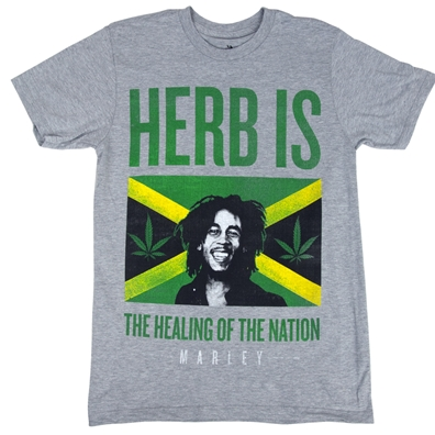 Bob Marley Herb Is Jamaica Heather Grey T-Shirt - Men's