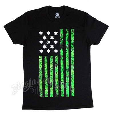 Pot American Flag Black T-Shirt – Men's