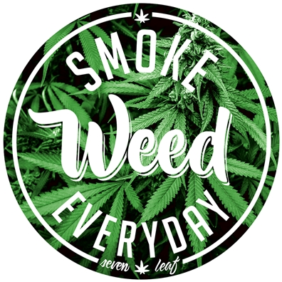 "Seven Leaf - Smoke Weed Everyday - 4""x4"" Sticker"